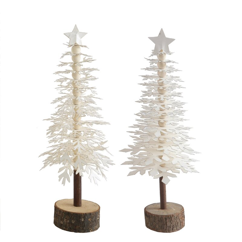 Beckman 2 Piece Paper Tree with Star on Wood Base Set