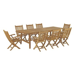 Christian Outdoor Patio 9 Piece Teak Dining Set
