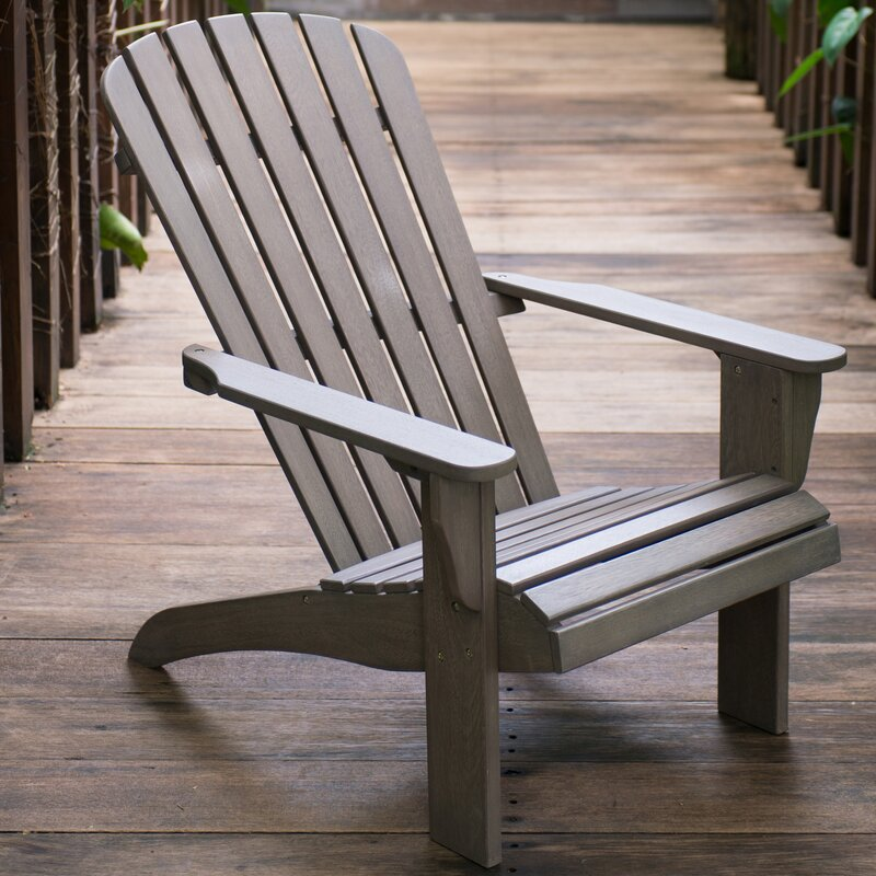 Renley Solid Wood Adirondack Chair With Ottoman