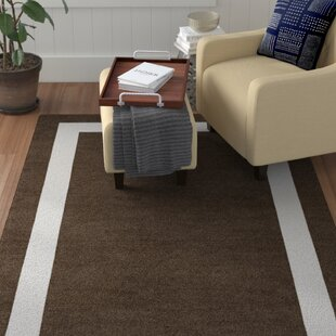 Affordable Moradian Border Hand-Tufted Wool Brown/White Area Rug By Red Barrel Studio