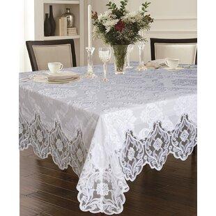 Deluxe Elegant Velvet Lace Sheer Floral Design Tablecloth