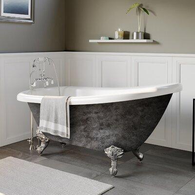 "Acrylic Slipper 67"" X 28"" Clawfoot Soaking Bathtub Cambridge Plumbing Feet Finish: Polished Chrome"