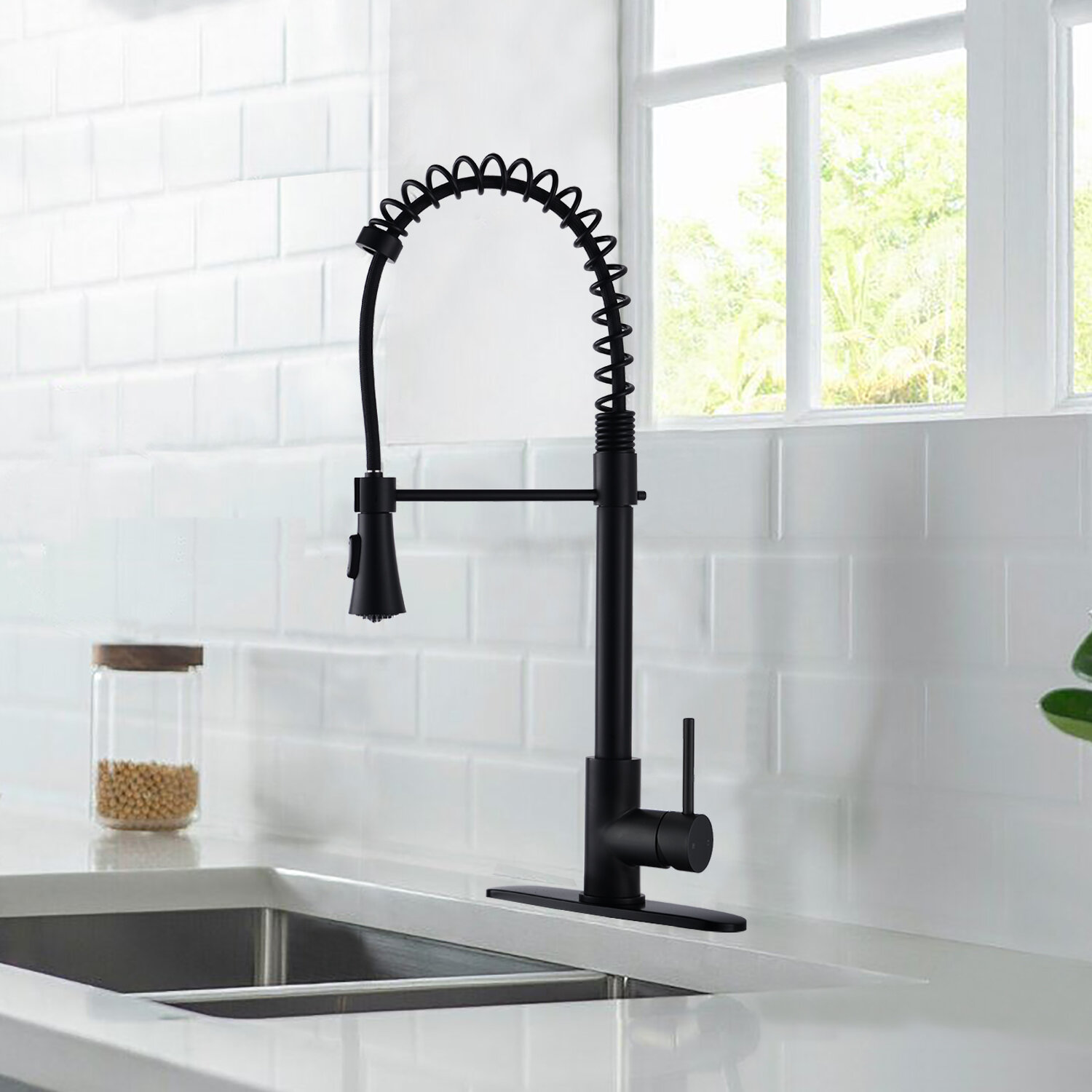 Bathlet Pull Down Single Handle Kitchen Faucet With Side Spray Wayfair