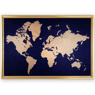 Framed world map wayfair framed world map rectangle graphic art print on canvas gumiabroncs Image collections