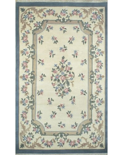 French Country Aubusson Ivory Blue Area Rug