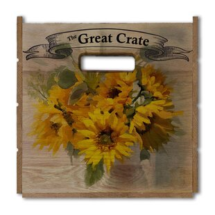 Read Reviews Sunflowers in Vase Wood Crate By August Grove