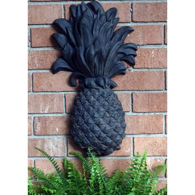 Outdoor Pineapple Plaque Wrought Iron Wall Décor - Hickory Manor House Outdoor Pineapple Plaque Brick Wall Décor
