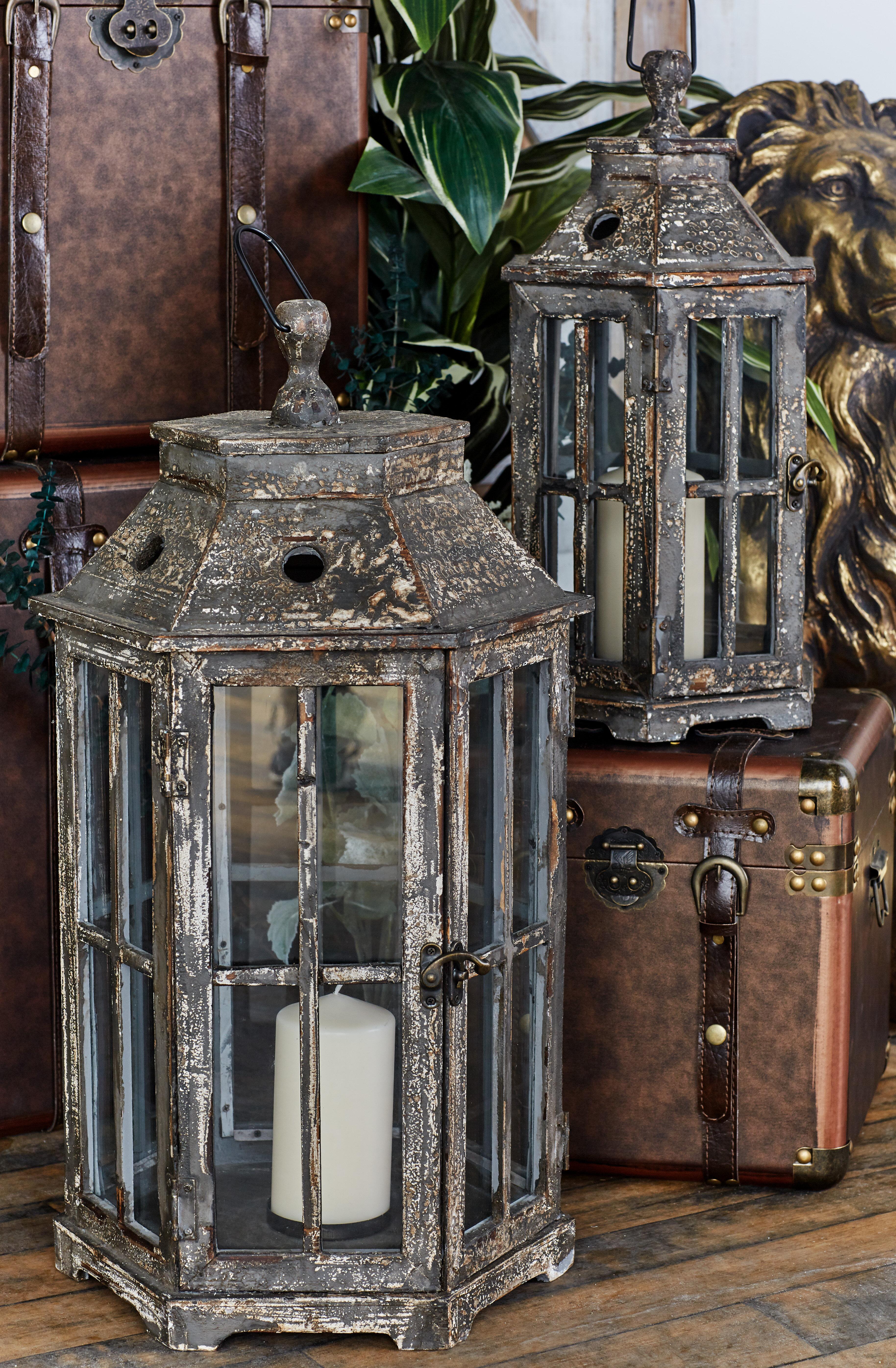 Ophelia Co 2 Piece Tall Wood And Glass Lantern Set Reviews Wayfair