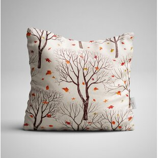 Cleasby Trees And Leaf On Autumn Throw Pillow by Winston Porter No Copoun