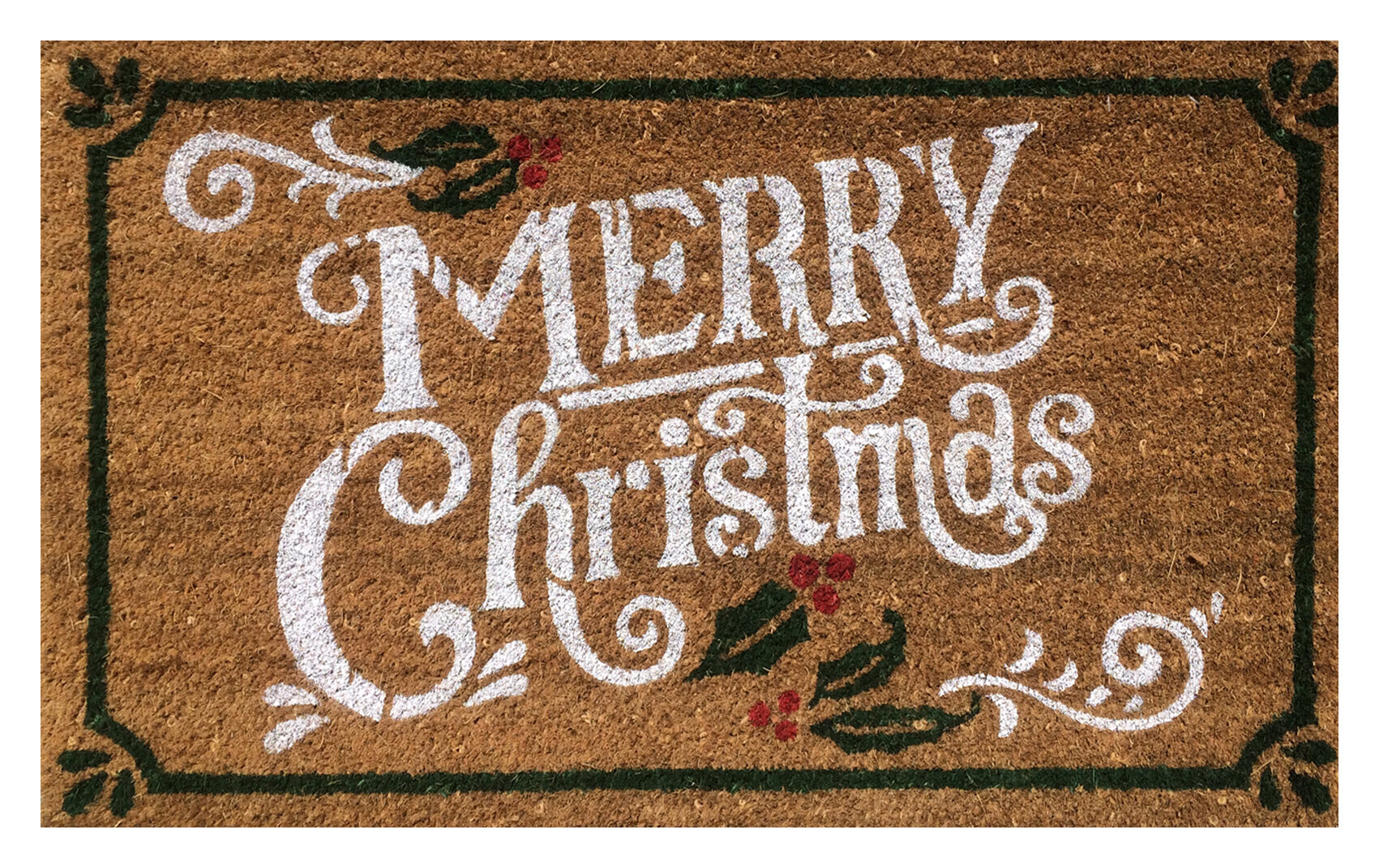 The Holiday Aisle Merry Christmas Coir 30 In X 18 In Non Slip Outdoor Door Mat Reviews Wayfair