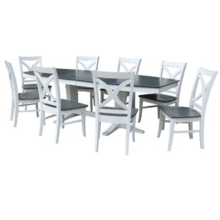 68 - 96 x 42 Double Butterfly Extension 9 Piece Dining Set with 8 Matching X-Back Dining Chairs