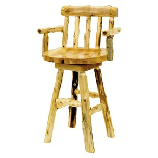 Traditional Cedar Log 24 Swivel Bar Stool by Fireside Lodge