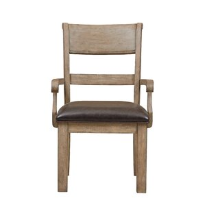 Fort Oglethorpe Brown Arm Chair by Laurel Foundry Modern Farmhouse