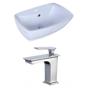 Budget Ceramic Rectangular Vessel Bathroom Sink with Faucet and Overflow By American Imaginations