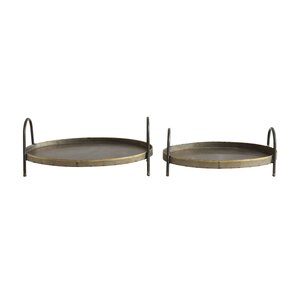 Ona 2 Piece Decorative Oval Metal Accent Tray Set