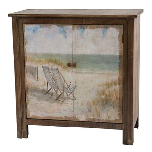 Suniga Rustic Wood Painted Canvas Beach Scene 2 Door Cabinet
