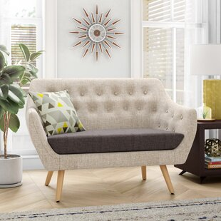 Brook Mid-Century Fabric Loveseat