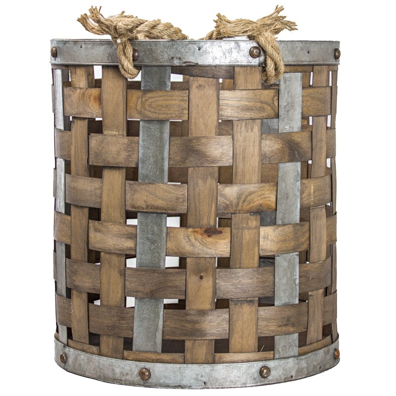 Rustic Bamboo And Metal Storage Basket