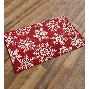 Online Reviews Snowflake Wool Red/White Area Rug By Plow & Hearth