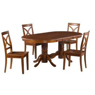 Rylee 5 Piece Extendable Solid Wood Dining Set