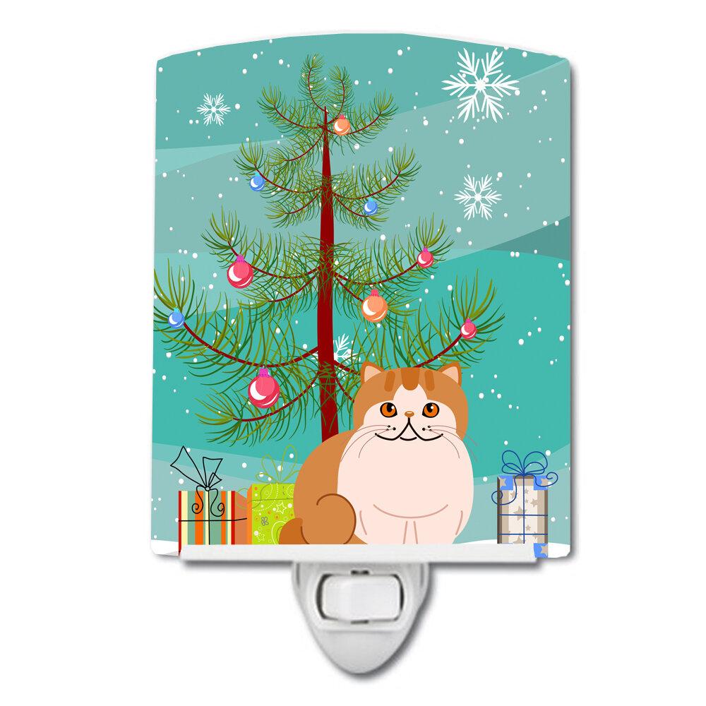 Exotic Shorthair Cat Merry Christmas Tree Ceramic Night Light