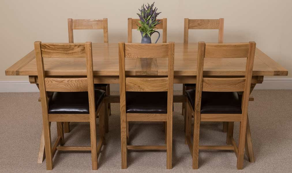 Baldev Kitchen Solid Oak Dining Set with 6 Chairs