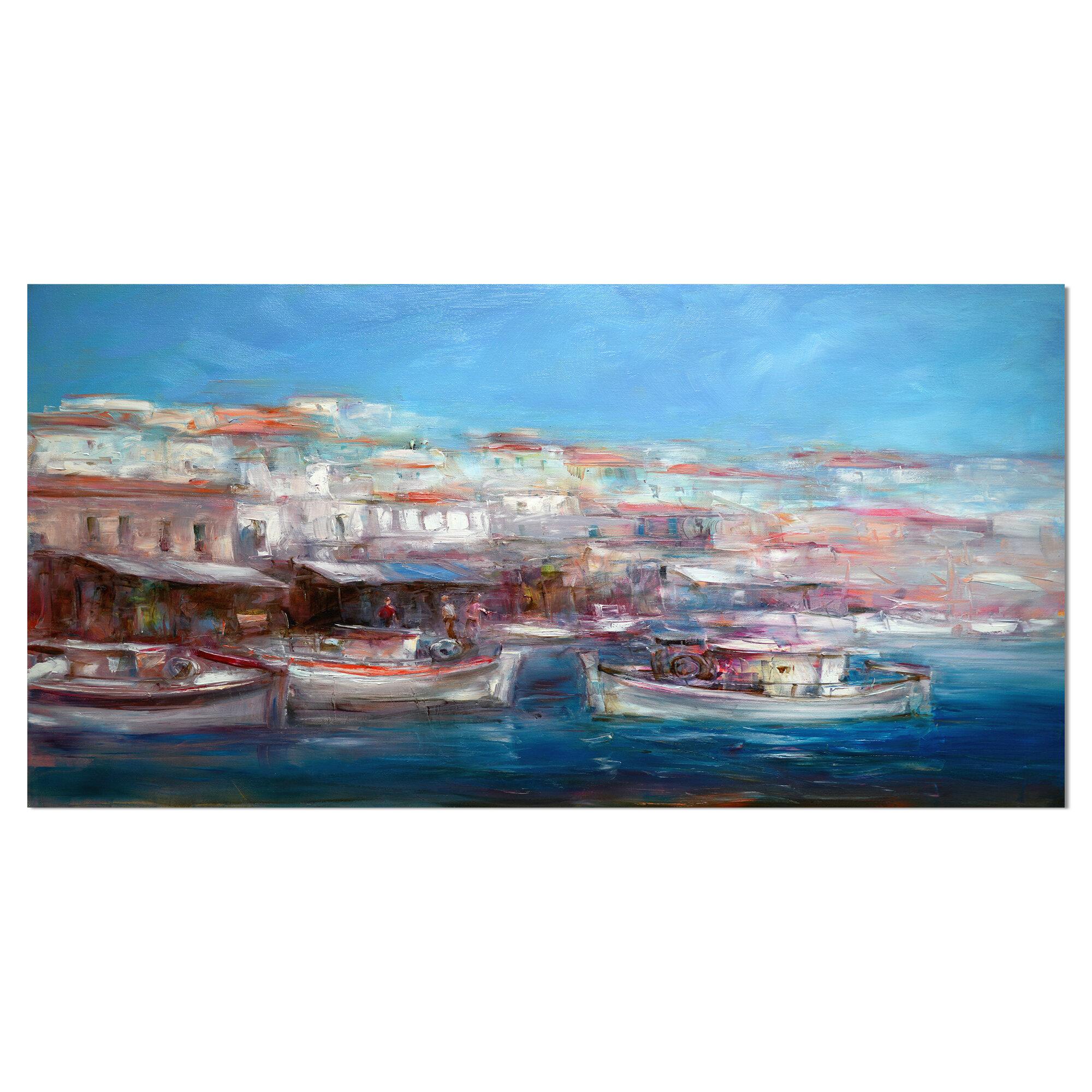 East Urban Home Venice Italy Boats On The Island Harbor Wrapped Canvas Print On Canvas Wayfair