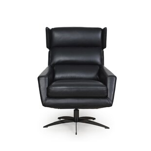 Eliora Leather Modern Swivel Club Chair and Ottoman by 17 Stories
