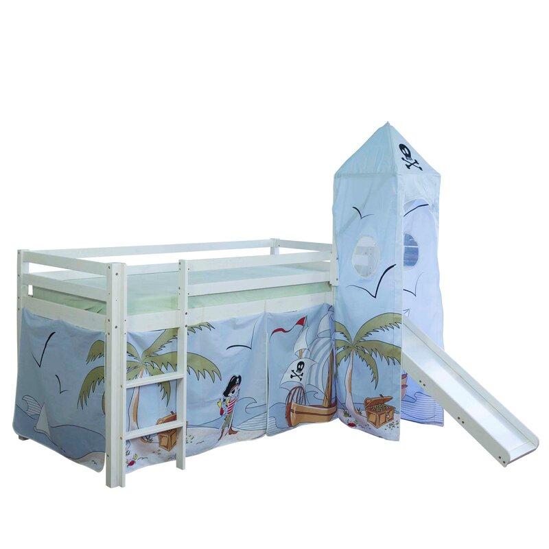 roomie kidz hochbett laila mit rutsche vorhang und turm 90 x 200 cm. Black Bedroom Furniture Sets. Home Design Ideas