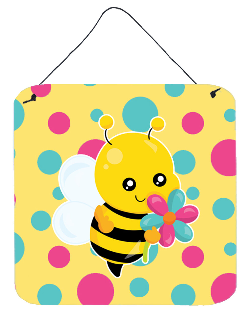 Zoomie Kids Bee with Flower Square Wall Décor | Wayfair