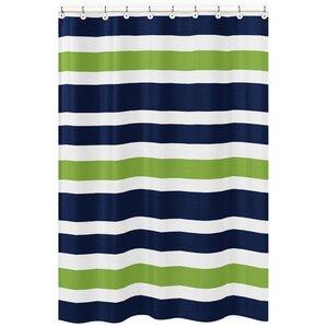 stripe brushed microfiber shower curtain
