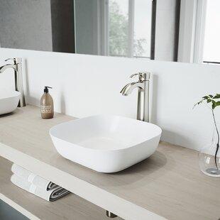VIGO Matte Stone Square Vessel Bathroom Sink with Faucet VIGO