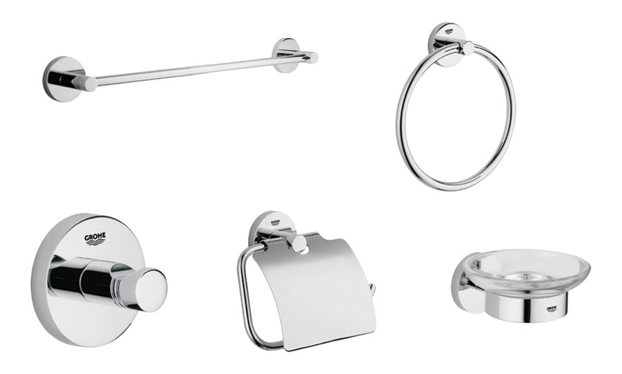 Bathroom Hardware grohe essentials 5 piece bathroom hardware set & reviews | wayfair