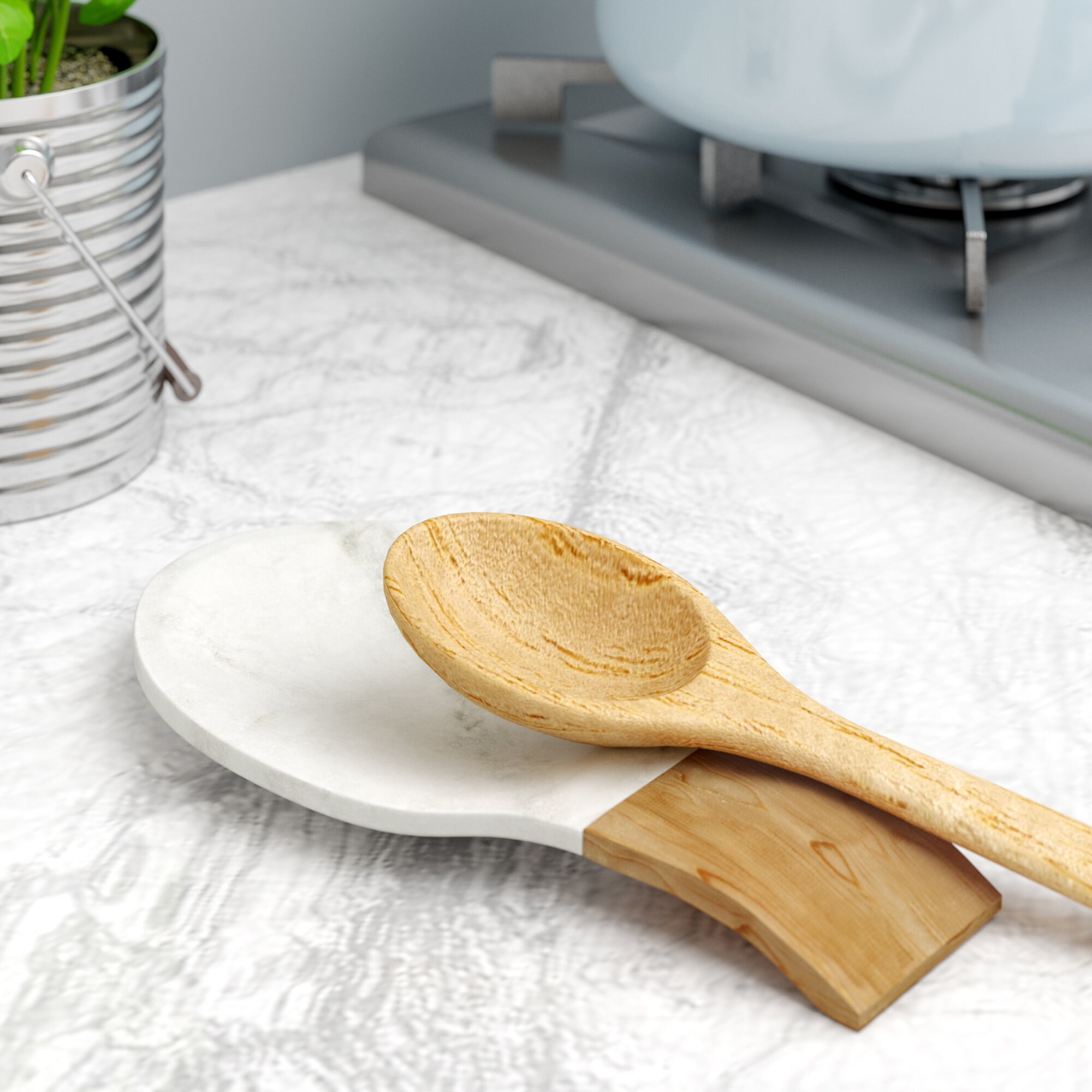 Traditional Marble and Acacia Wood Spoon Rest