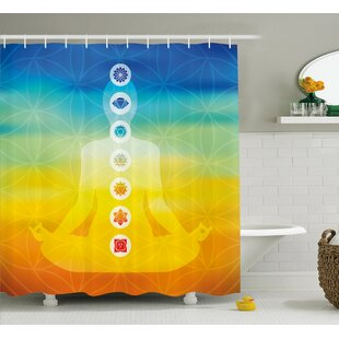 Paterson Gradient Colored Digital Female Human Body With Central Sacred Chakra Points Design Single Shower Curtain