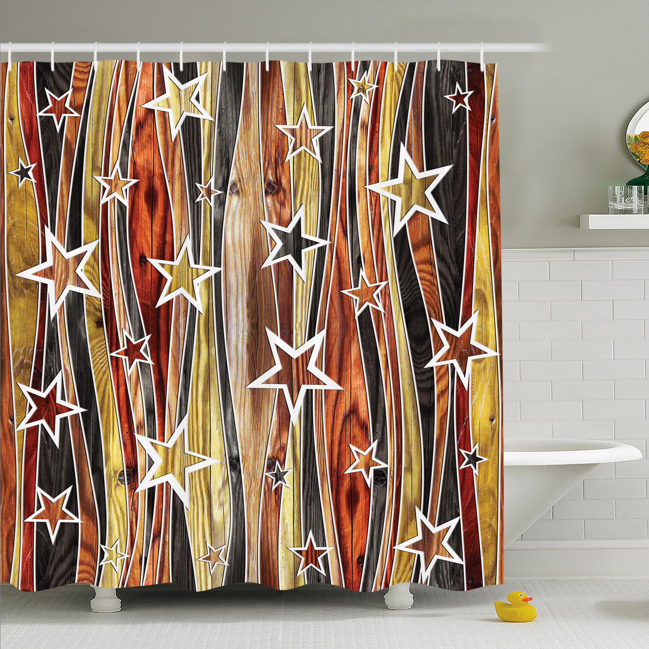 Rustic Home Vertical Striped Vibrating Decorative Timber Design With Various Star Figures Shower Curtain Set
