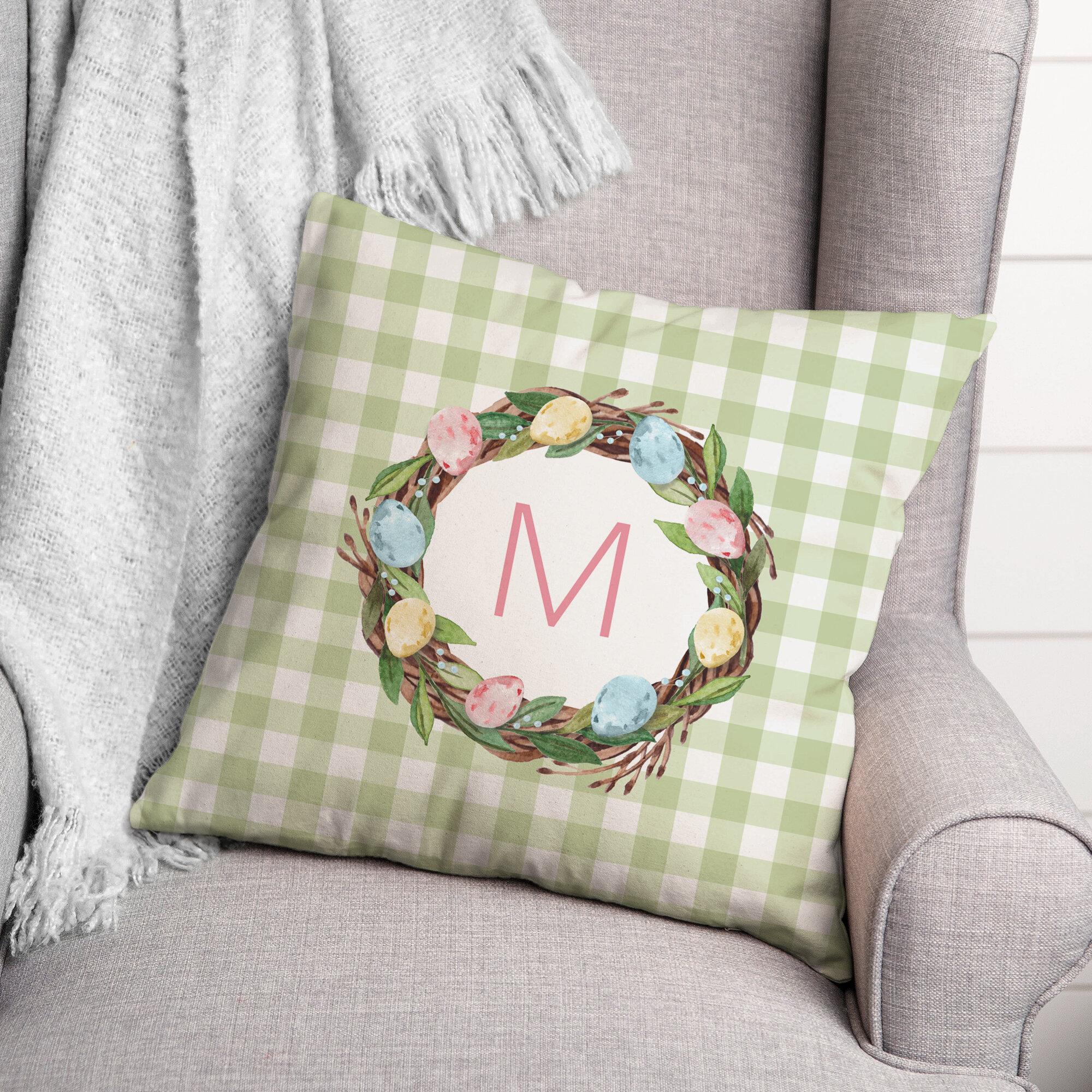 The Holiday Aisle Latour Easter Egg Wreath Monogram Plaid Throw Pillow Wayfair