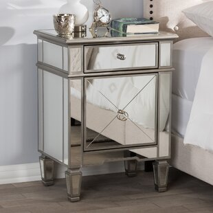 Beglin Hollywood Regency Mirrored 1 Drawer Nightstand