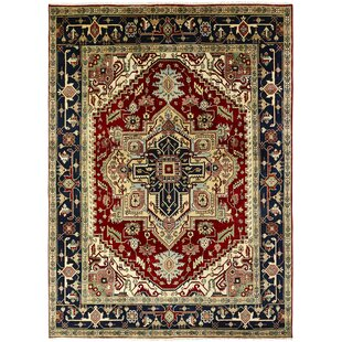 Budget Martina Hand-Knotted Wool Navy Blue/Red Area Rug ByAstoria Grand
