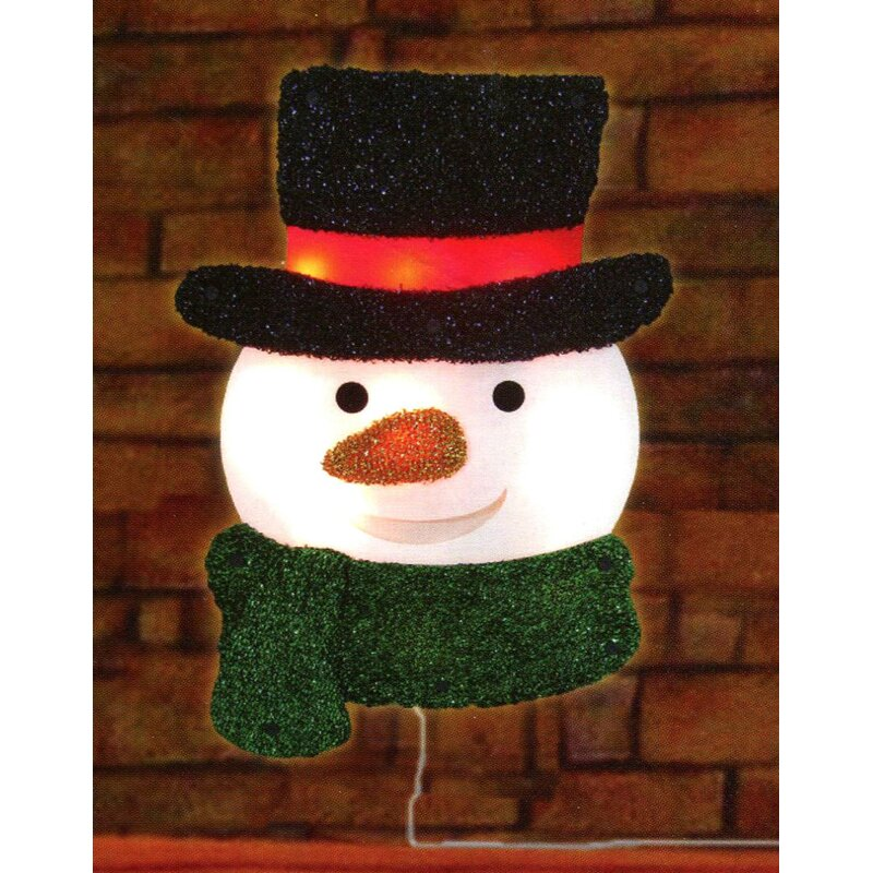 Christmas Top Hat.Lighted Tinsel Snowman With Top Hat Christmas Window Silhouette Decoration