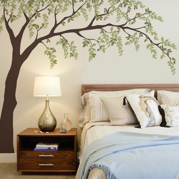 Falling Leaves Tree Wall Sticker Large Windy Tree with Birdhouse Wall Decal -Windy Tree Living Room Wall Decal Nature Wall Decal