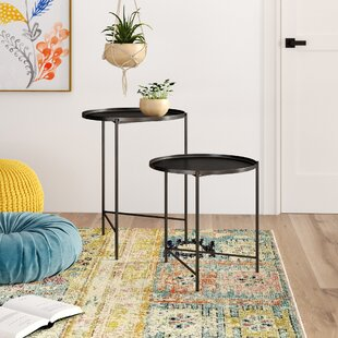 Read Reviews Petersburg Round Metal 2 Piece Nesting Tables by Bungalow Rose