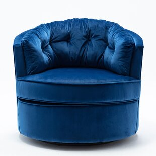 Mooney Swivel Barrel Chair by Everly Quinn