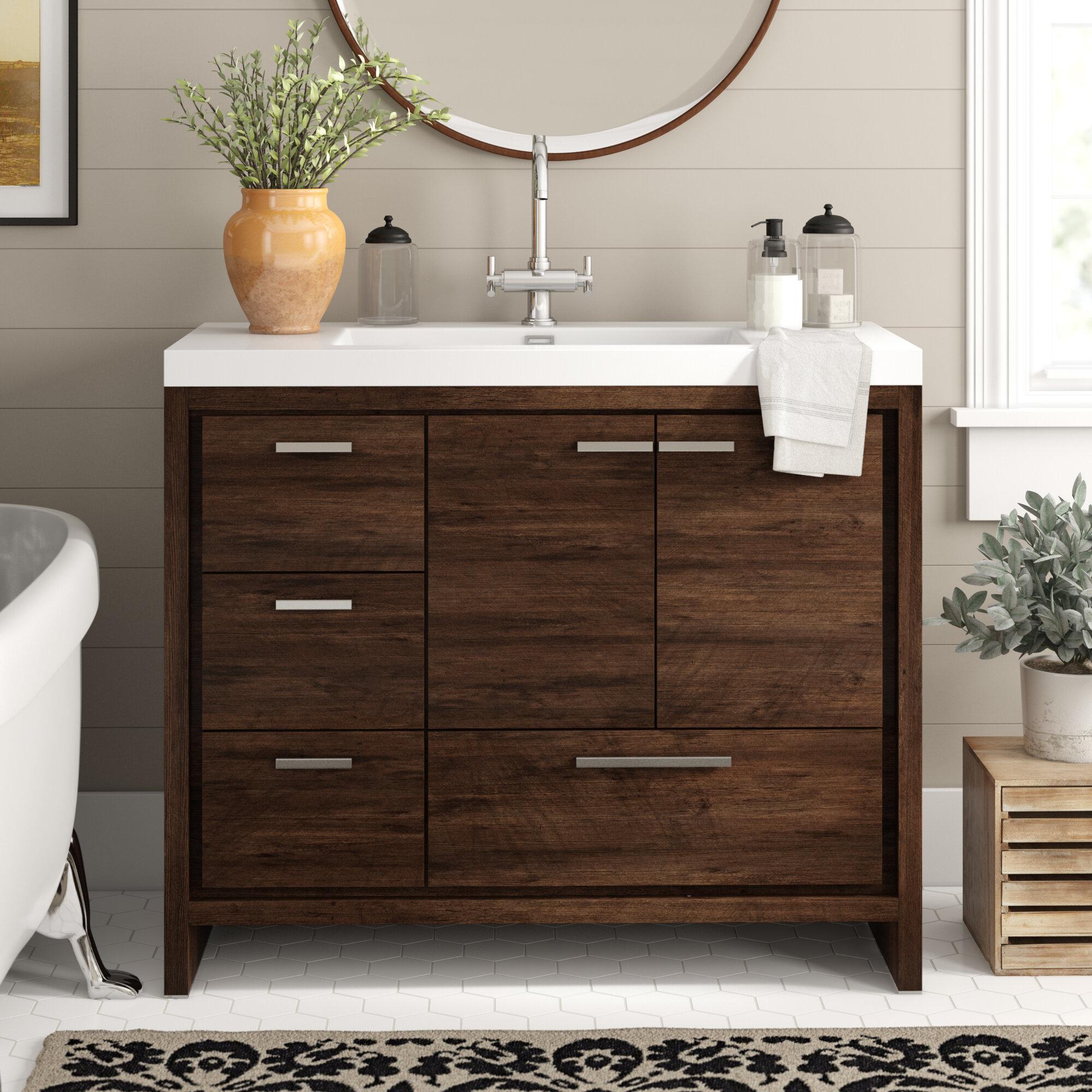 Ivy Bronx Harger Free Standing Modern 42 Single Bathroom Vanity Set Reviews Wayfair