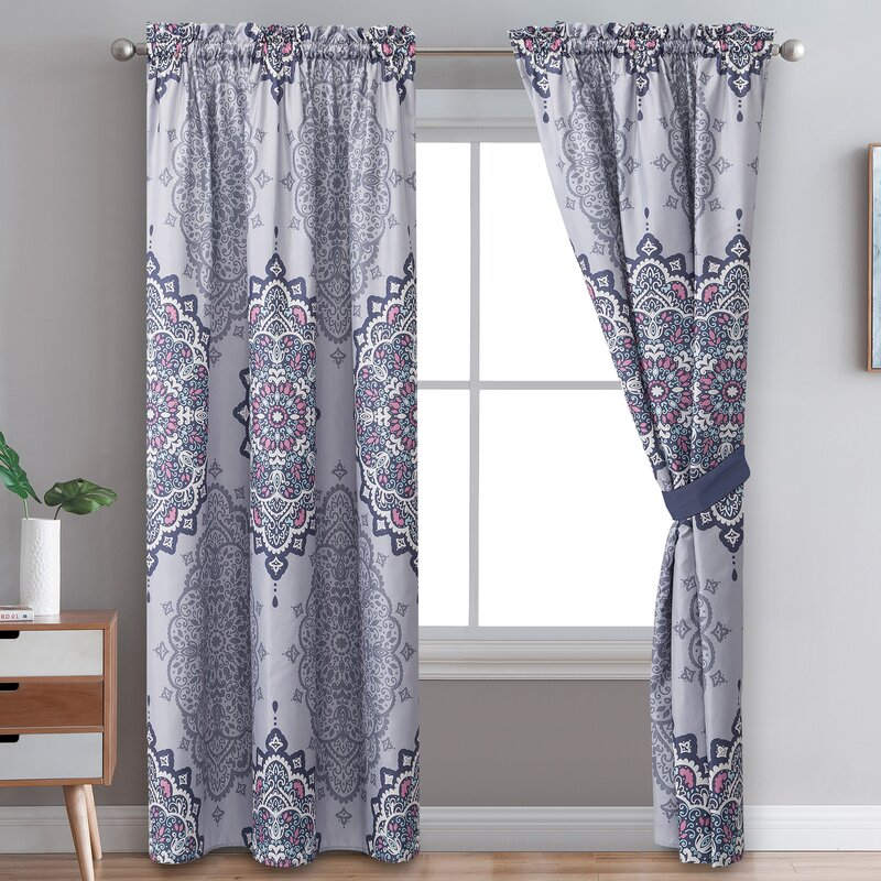 Bloomsbury Market Shauntrelle Damask Room Darkening Curtains Panels Wayfair