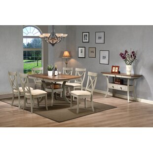 Baxton Studio Balmoral Shabby Elegance Country Cottage Antique Oak Wood And  Distressed Light Grey 8 Piece Dining Set With 40 Inch Extendable Dining  Table