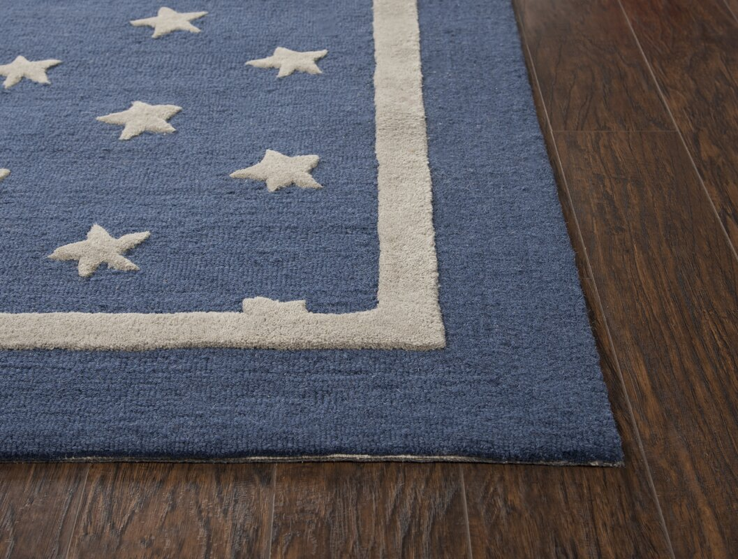 Harriet Bee Juno Hand-Tufted Wool Navy Area Rug & Reviews | Wayfair