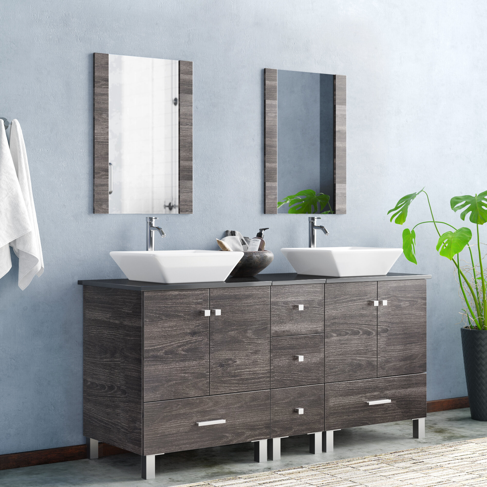 Orren Ellis Barbonne 60 Double Bathroom Vanity With Mirror Reviews Wayfair