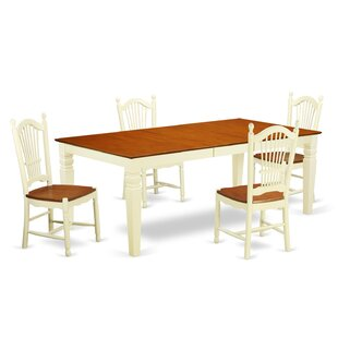 Beesley 5 Piece Extendable Solid Wood Dining Set DarHome Co