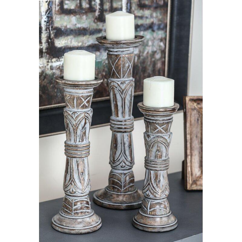 Bungalow Rose 3 Piece Paulita Tall Wood Candlestick Holder Set Reviews Wayfair